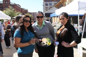 Downtowners enjoying the day and a veggie burger from Catalyst Catering